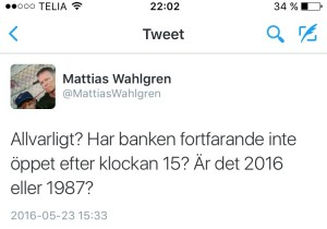 """Swedbank """"pingades i tweeten efter"""" denna. Därefter följde en dialog som för en stund var positiv..."""