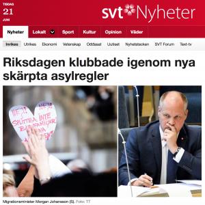 Taximil från Sveriges televisions hemsida, med nyheten om riksdagens nya asylregler.
