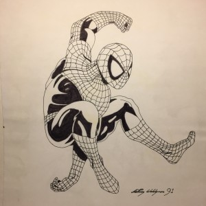 Teckning i tusch av Spindelmannen aka Spiderman.