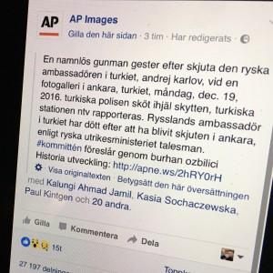 Faximil från ett uselt översatt inlägg på Facebook.