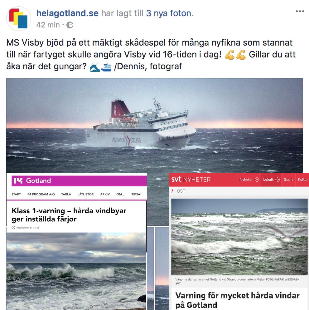 Lite skärmdumpar från gotlandsmedia idag, om stormen som parkerat båtarna och mängder av enduroförare på landbacken
