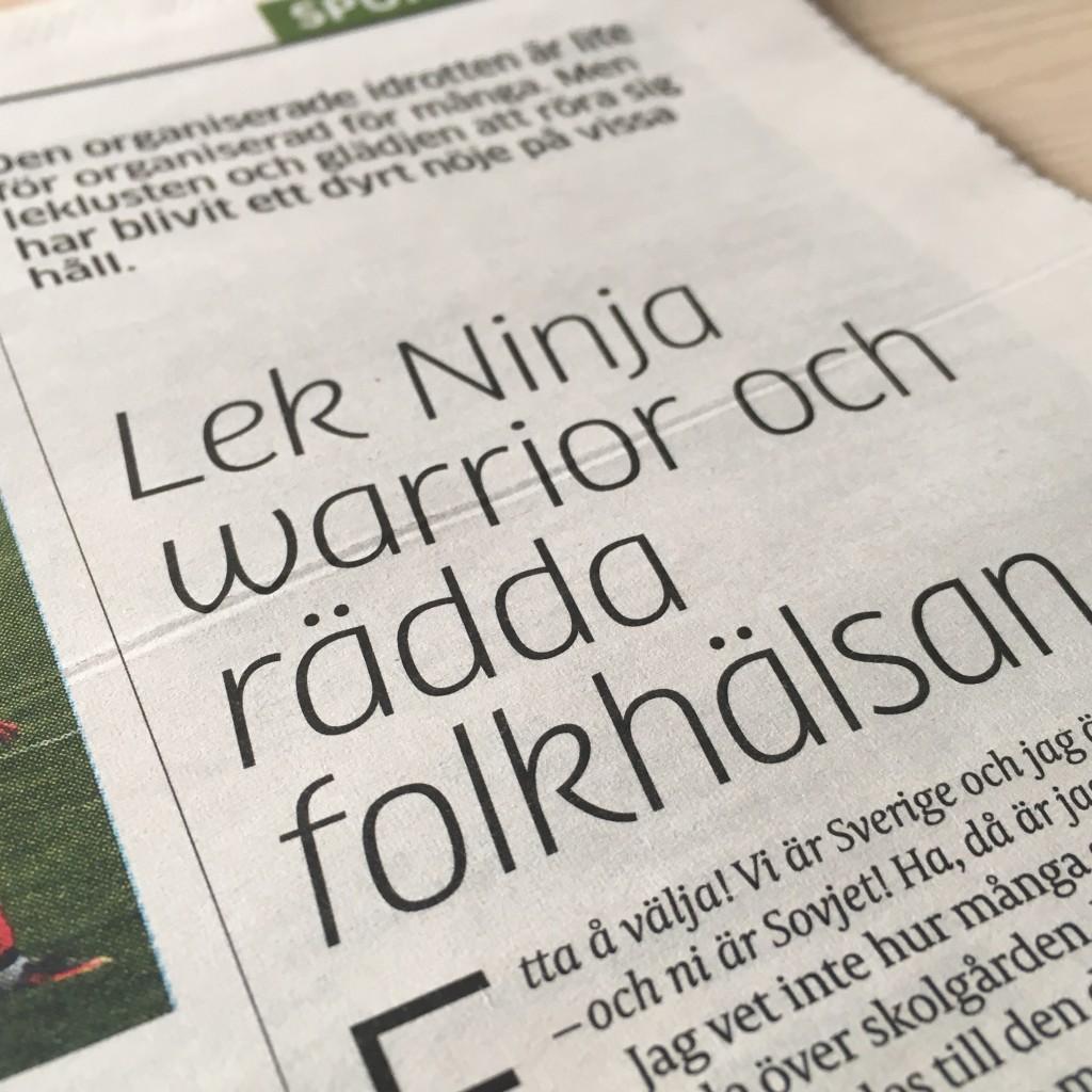 Faximil från morgonens GT och Linus Ehns sportkrönika, en krönika som jag inte kan säga att jag läser ofta...